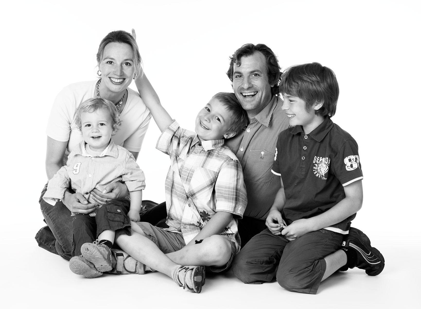 Familienfotos in Schwarzweiß